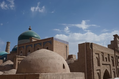 mosque under blue sky uzbekistan zoom background