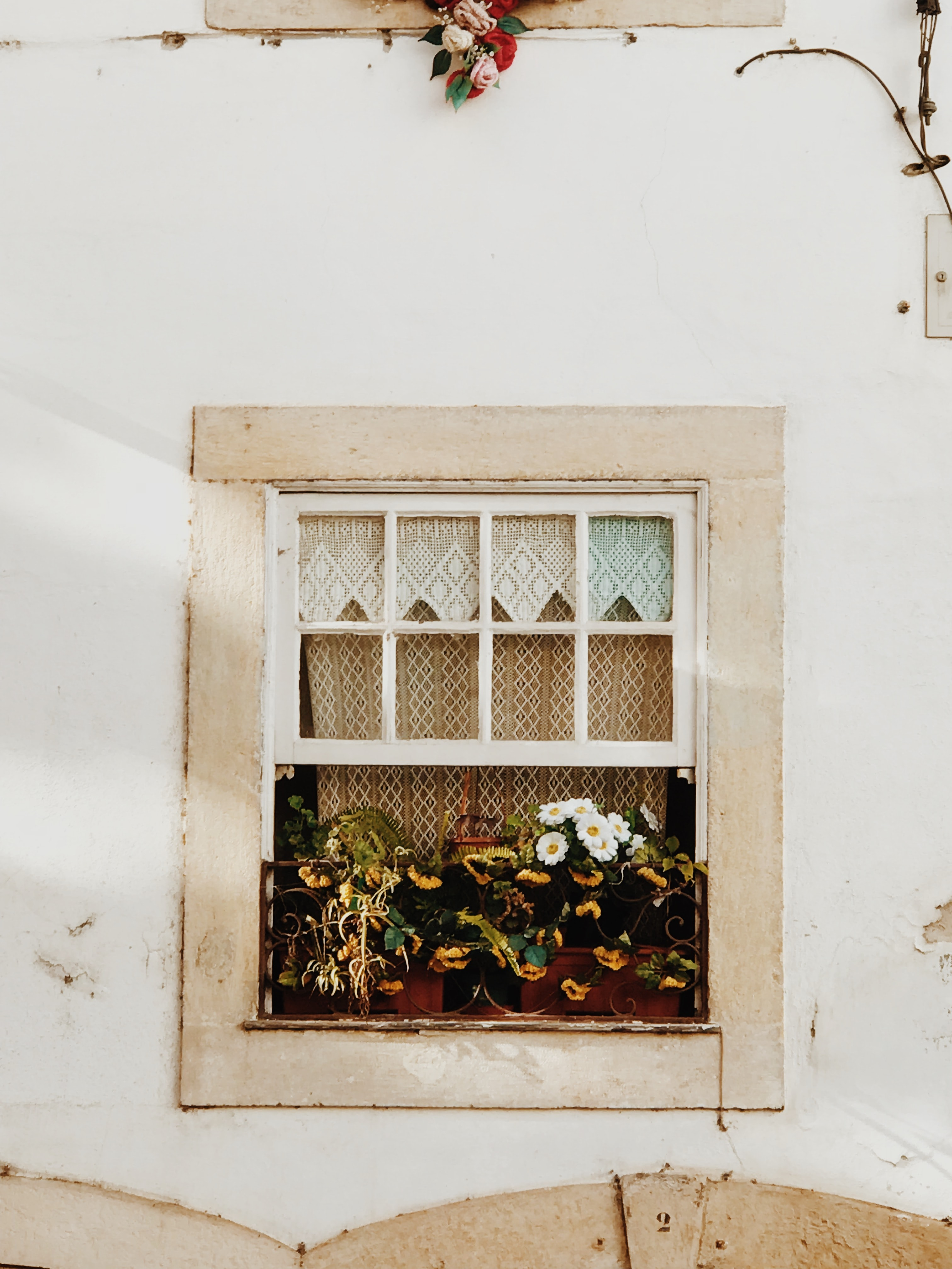white-petaled flowers centerpiece overviewing window
