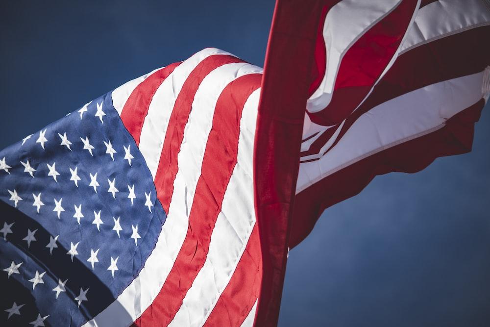 American flag waving during daytime