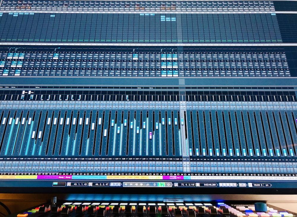 close-up photography of audio mixer