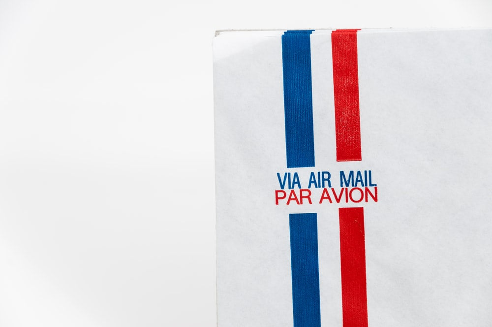 white Via Air Mail Par Avion envelope