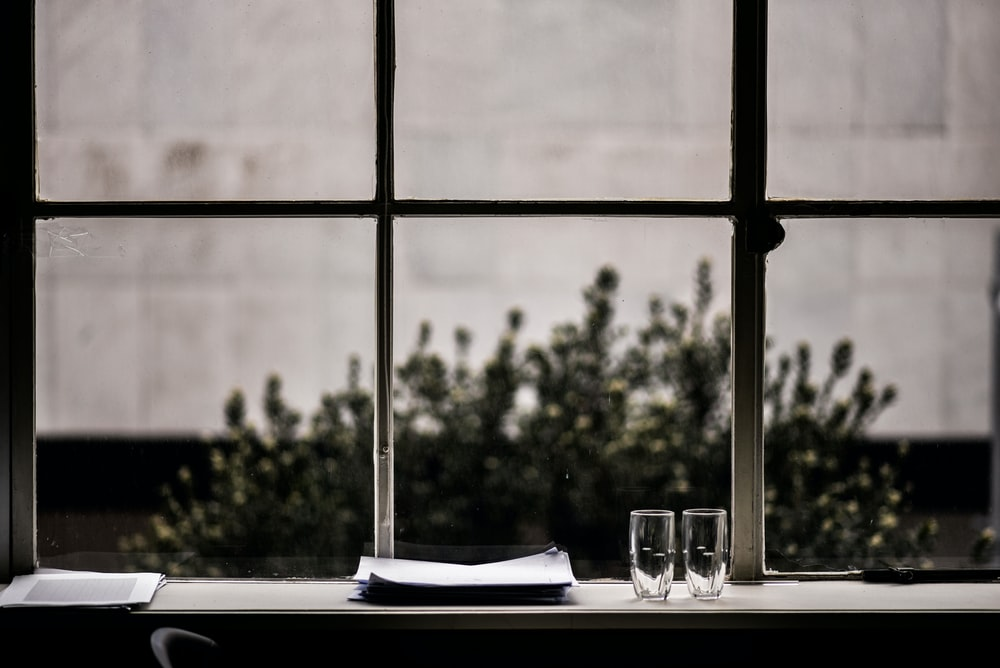 grayscale photography of two clear drinking glasses and plates near window