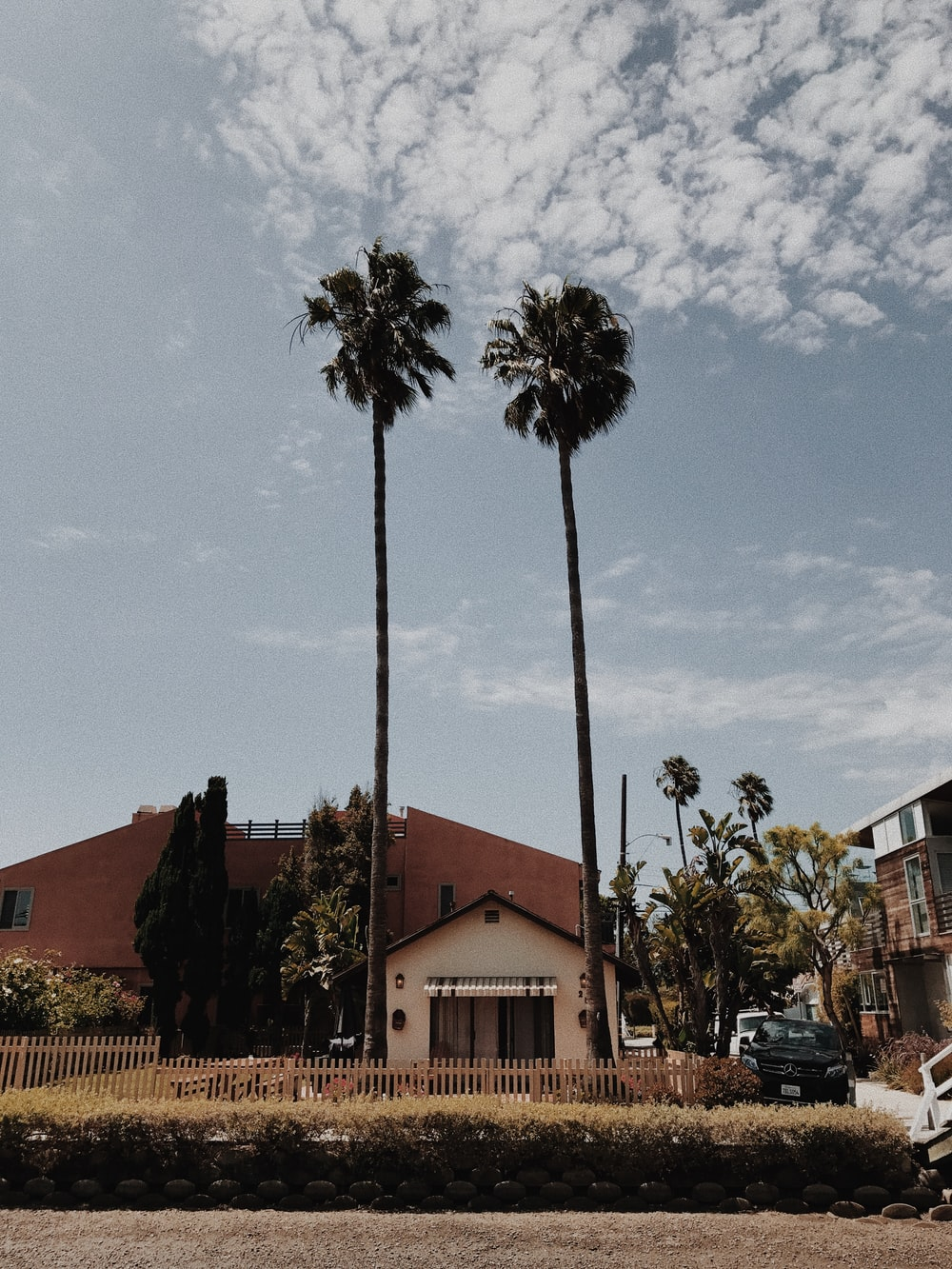 black vehicle parked beside house near green palm trees during daytime