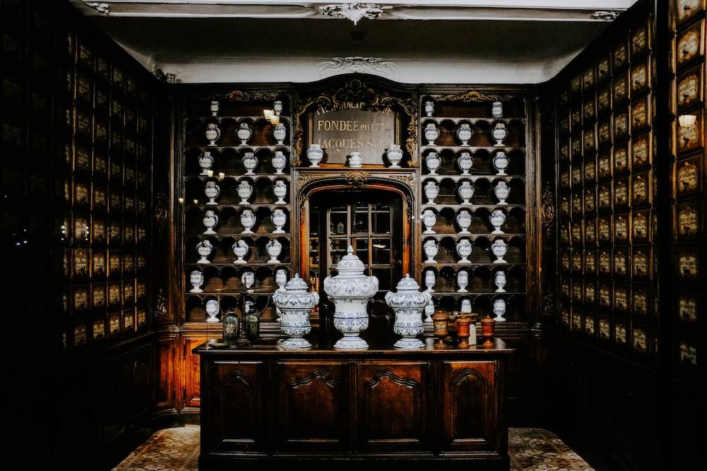 vases displayed on shelves