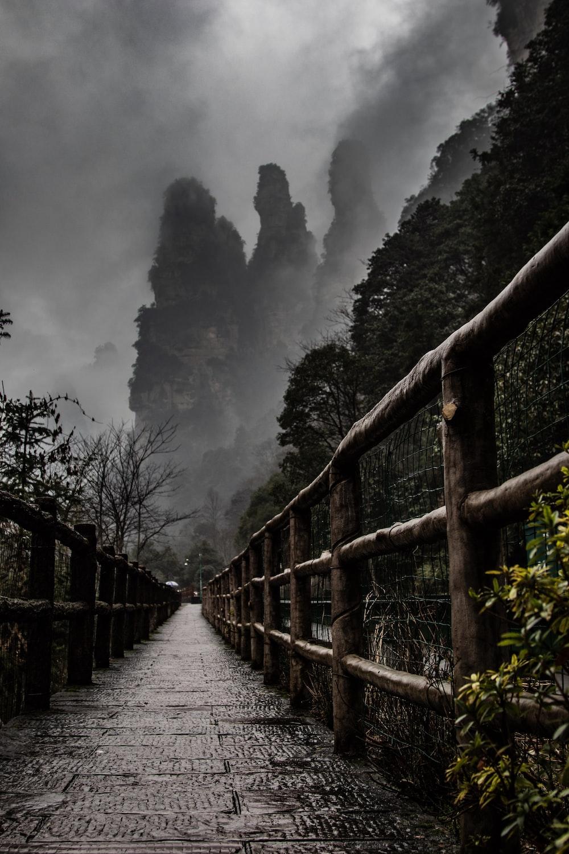 grey cloudy sky over wooden walk bridge