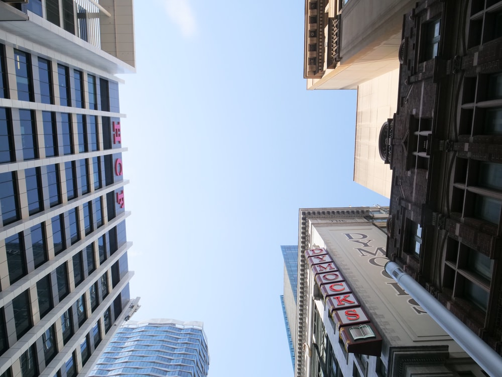 low angle photography of highrise buildings under blue sky during daytime