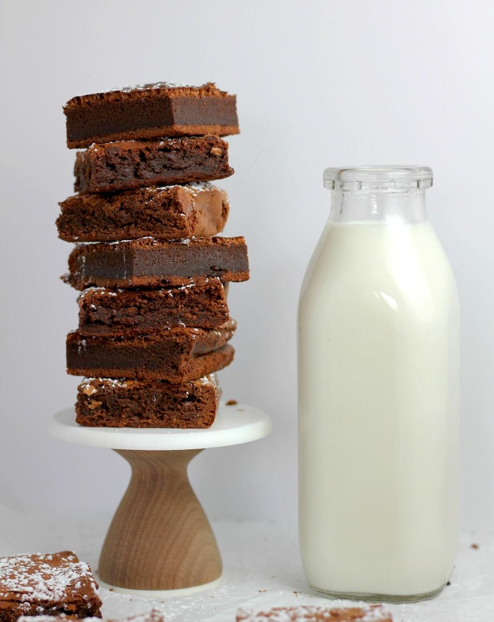 chocolate fudge beside milk bottle