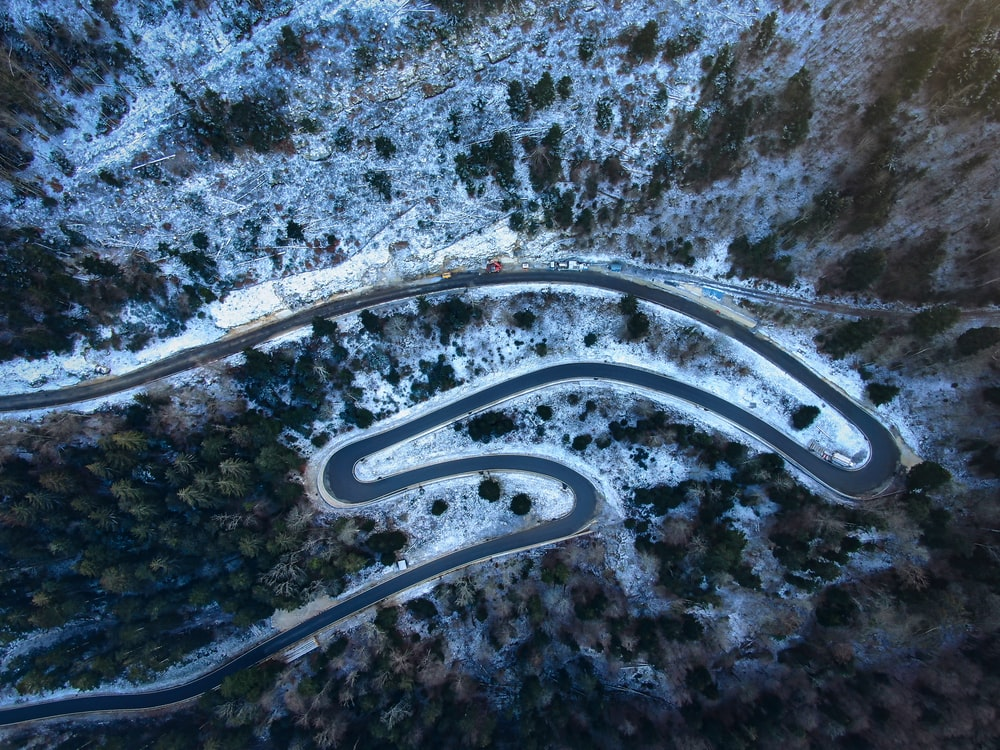 spiral road on aerial photography