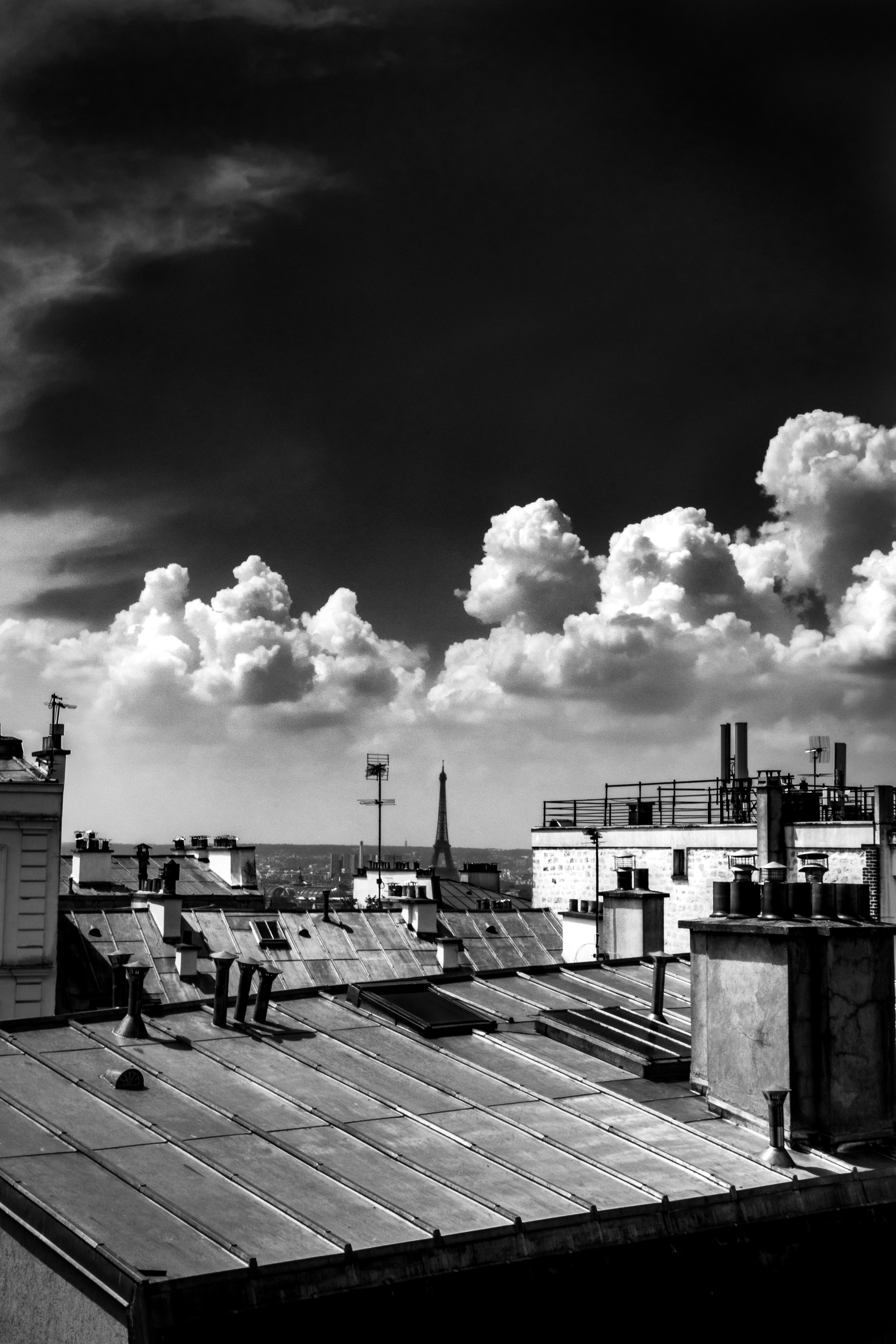 grayscale photography of housed