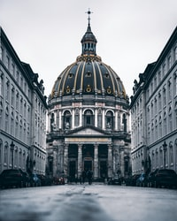 low angle photography of white and grey dome building