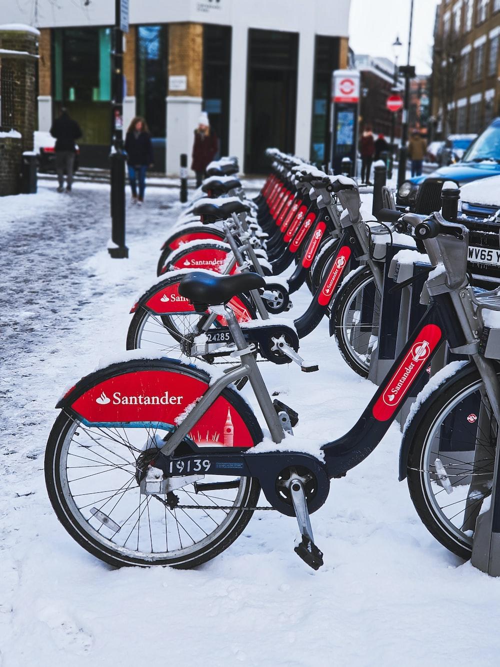 black Santander commuter bike parked on parking lot