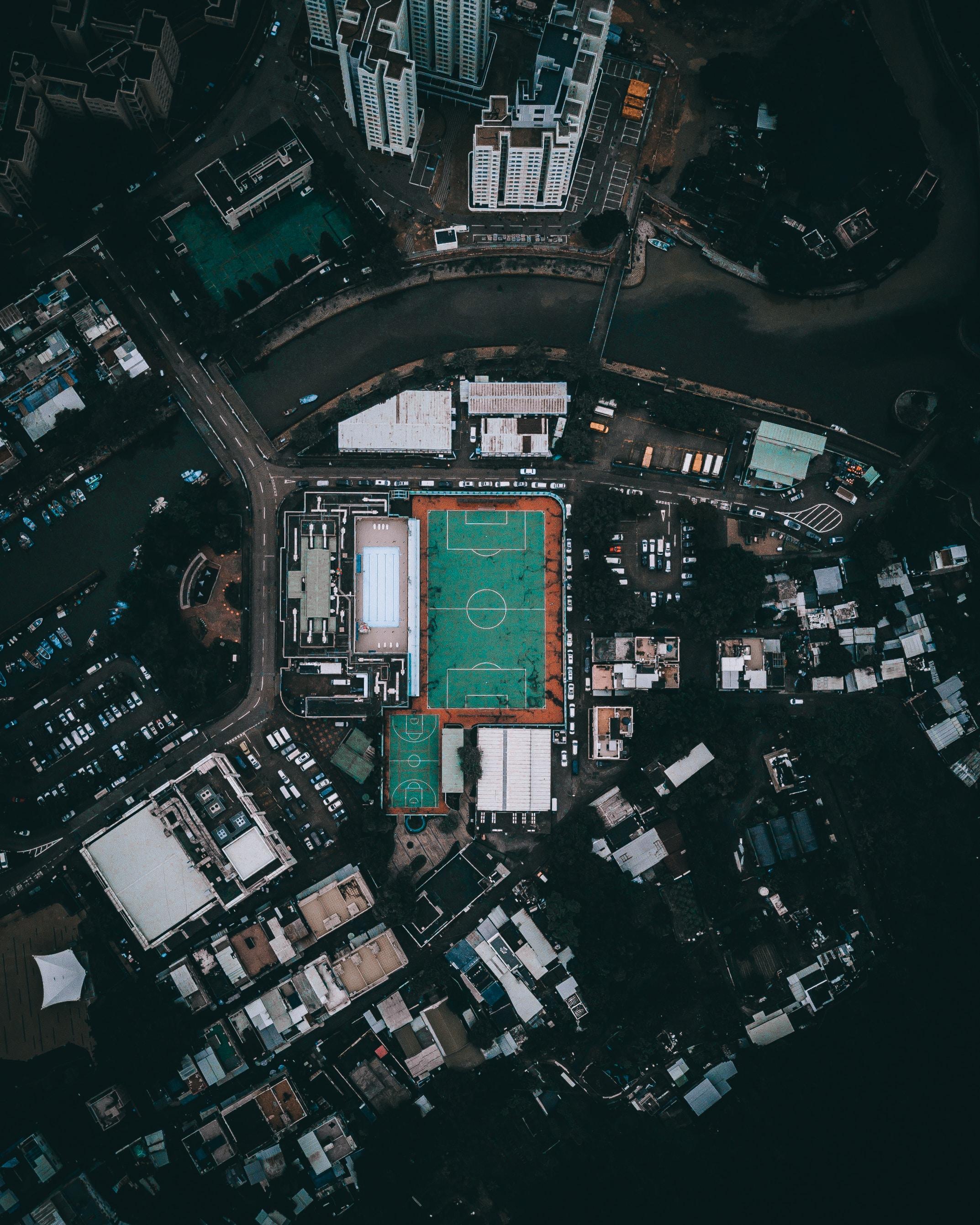 bird's eye view of soccer fiield