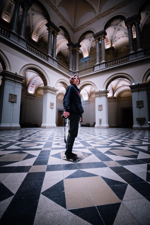 man standing inside hall