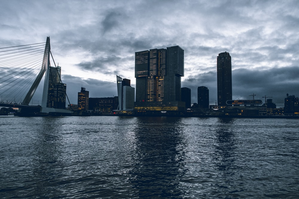 high-rise buildings near body of water