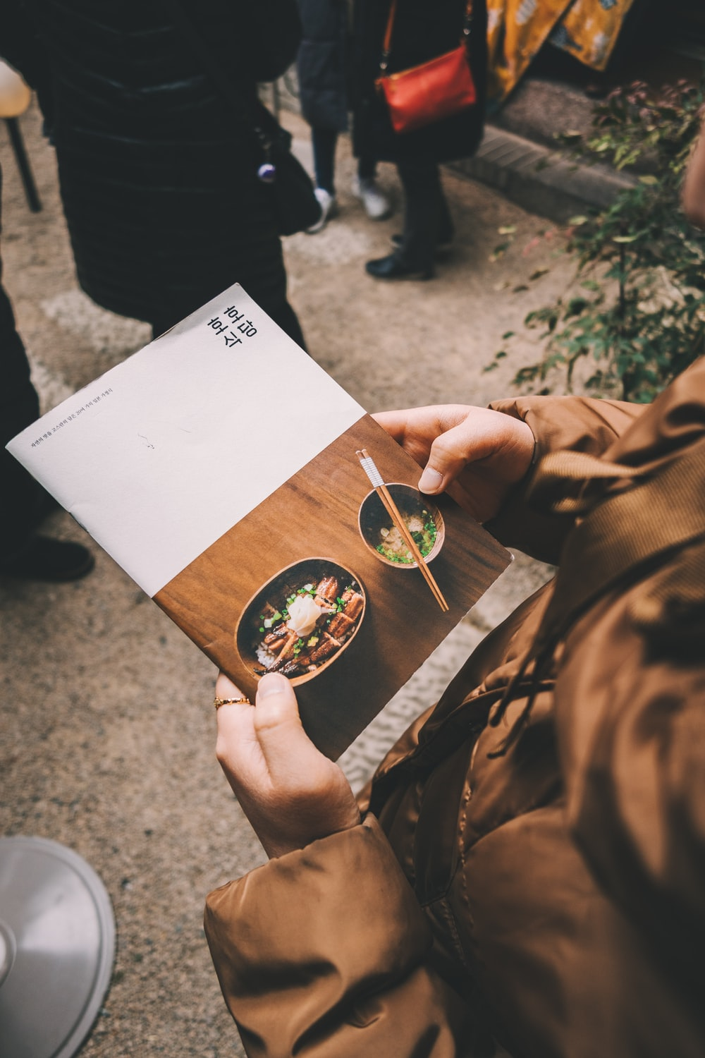 person holding white and brown food book