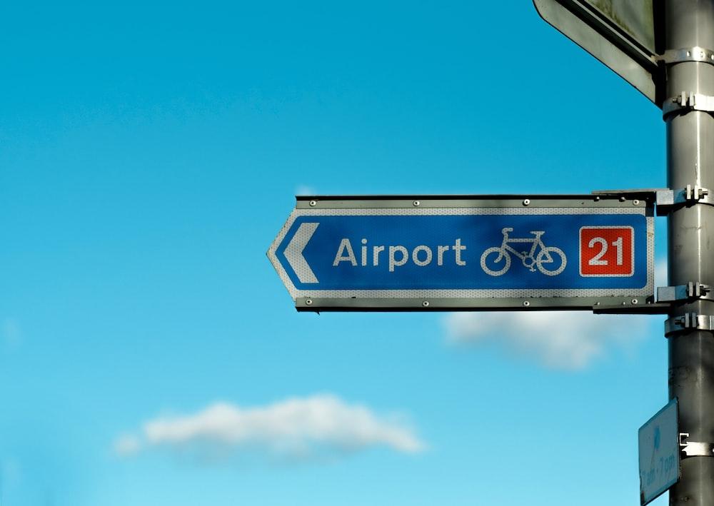 blue Airport 21 signage