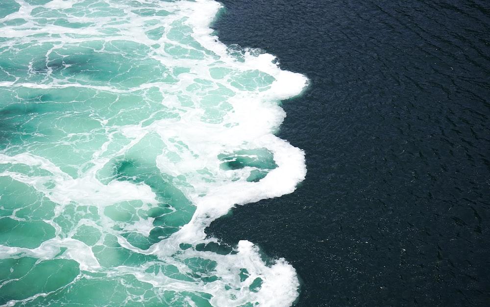 sea water heading to shore