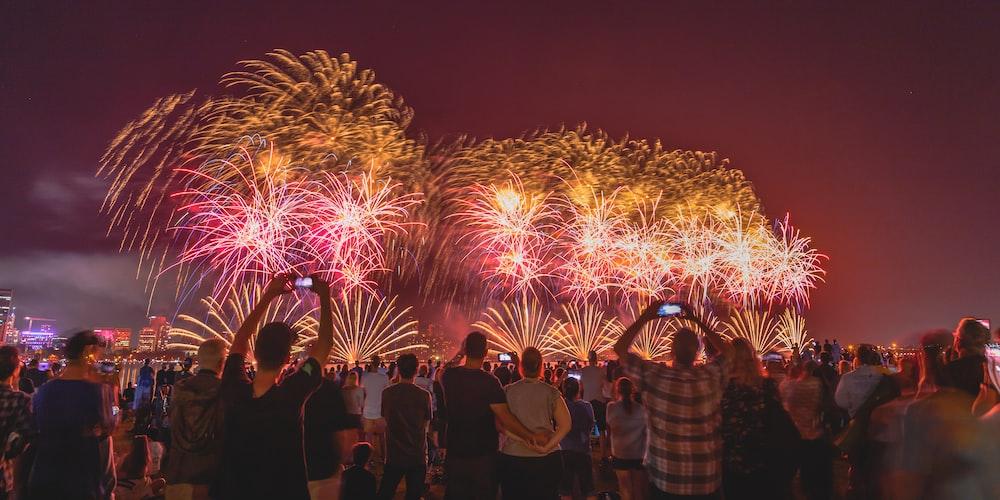people viewing fireworks