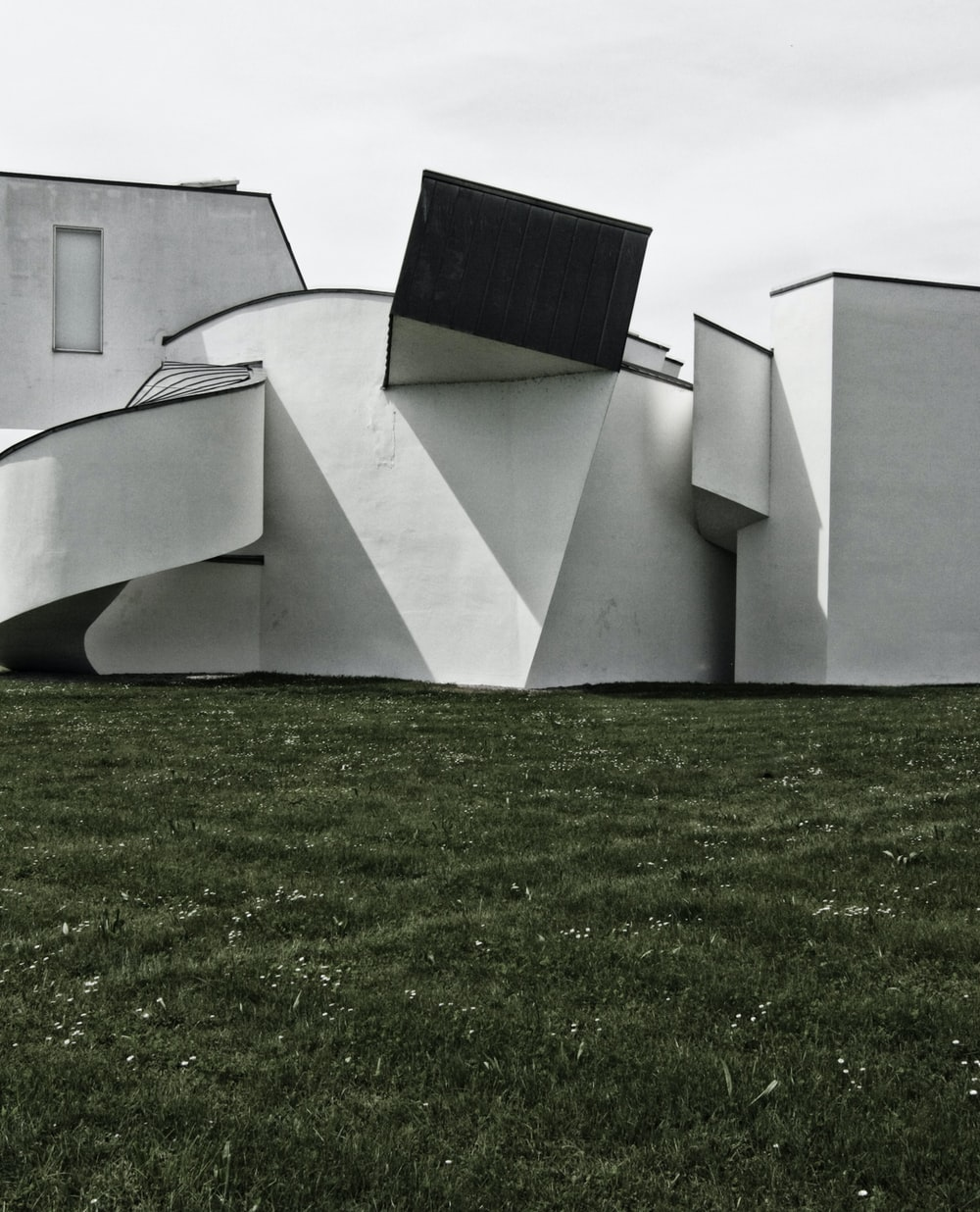 white and black building