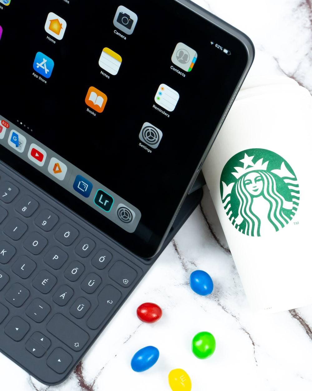 silver iPad turned on
