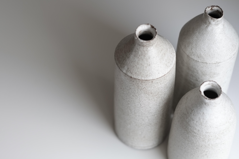 three white bottles on white surface