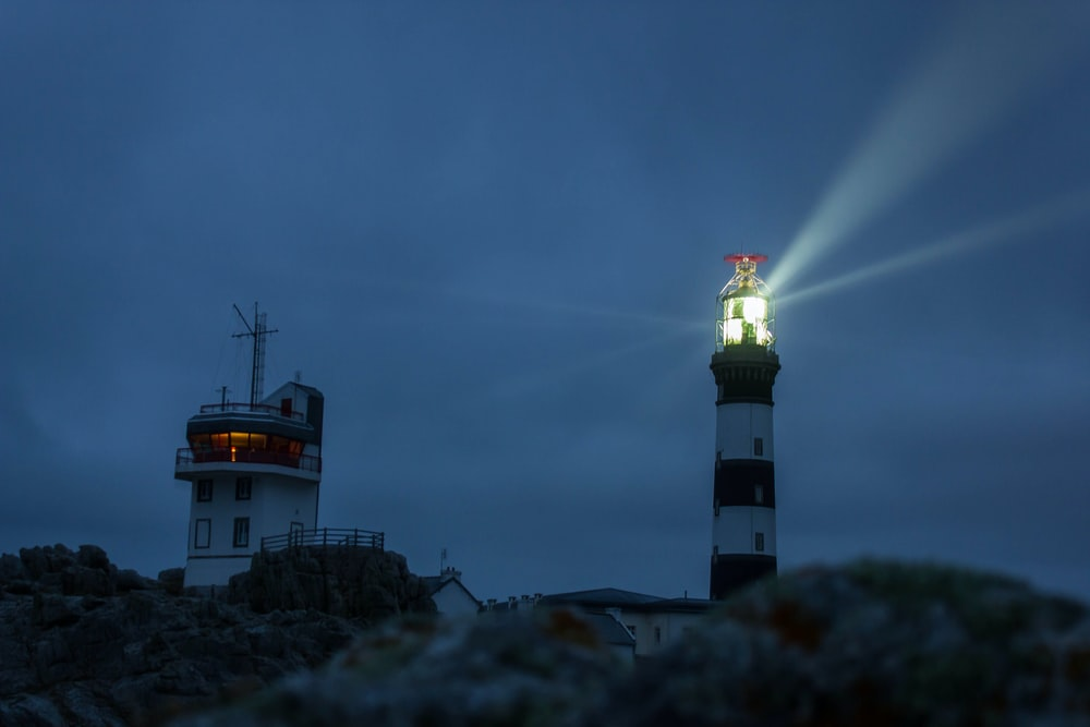turned on light house tower