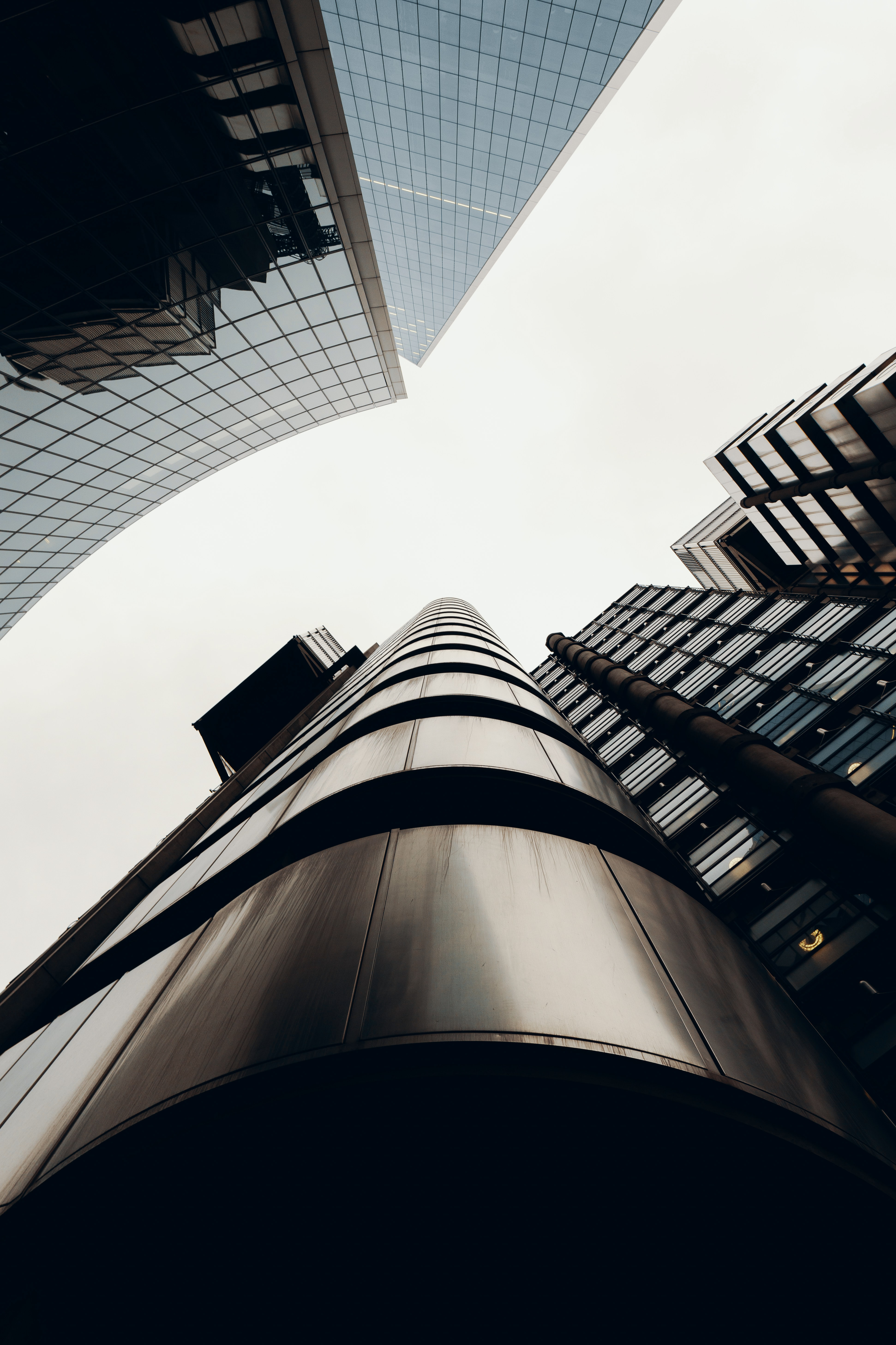long-angle photography of curtain wall buildings