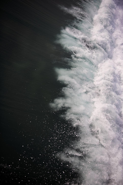 aerial photo of crashing water
