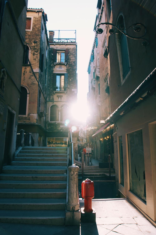 empty street near stair
