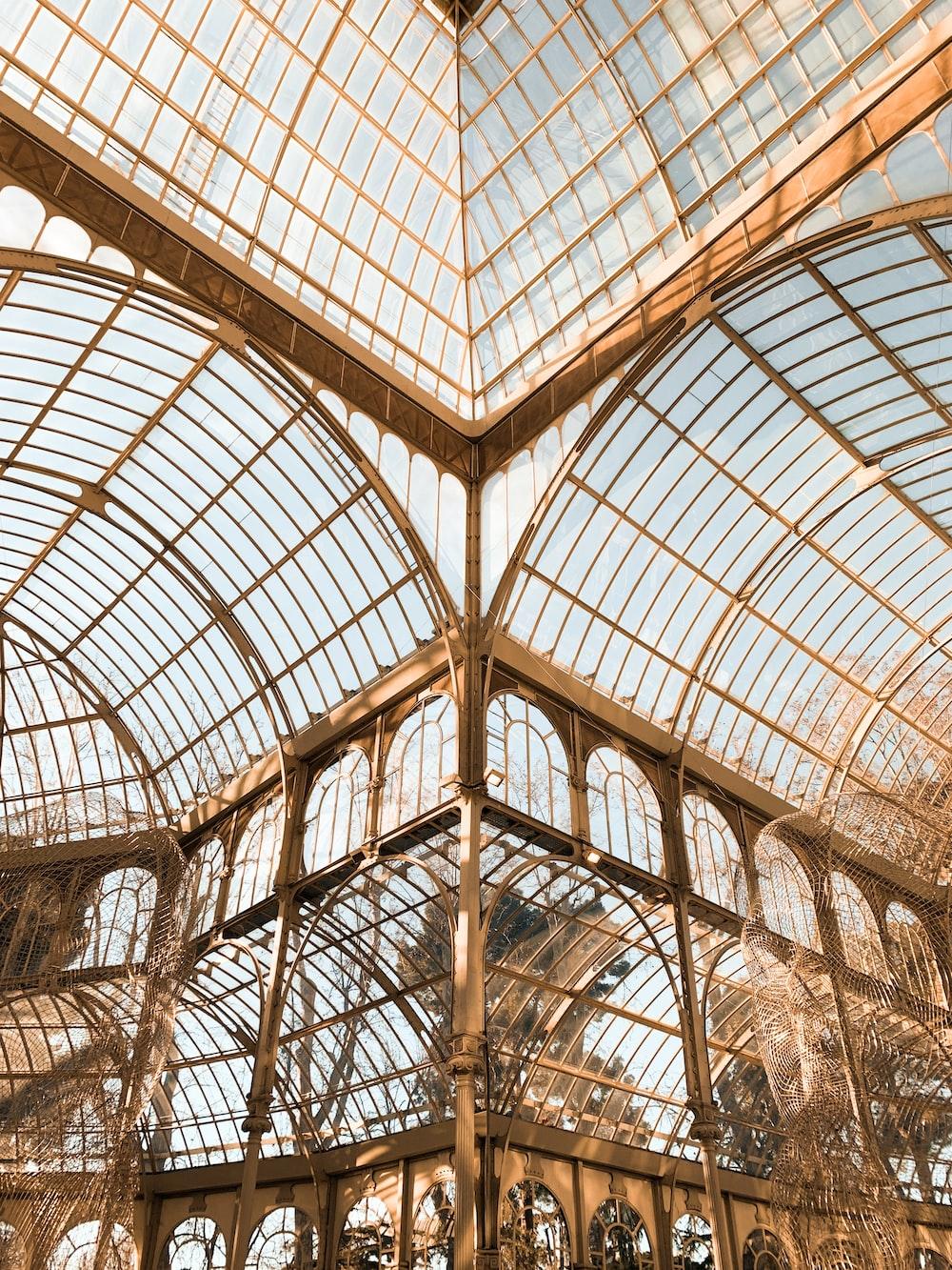brown framed glass building interior