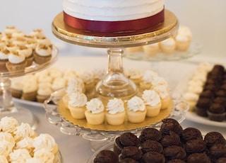 round white cake on cake stand