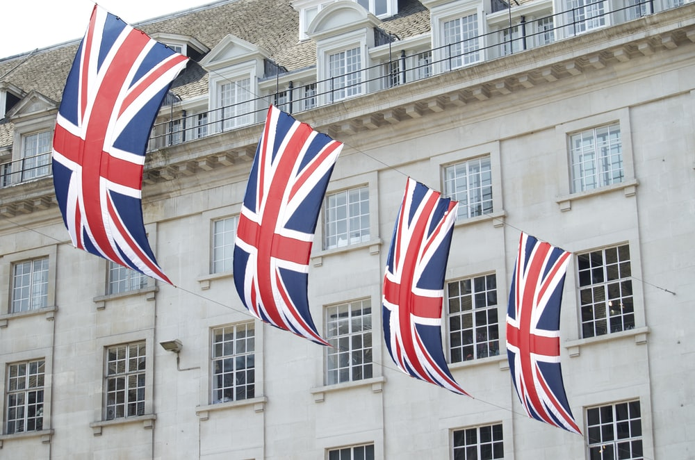 United Kingdom flags hanged near building
