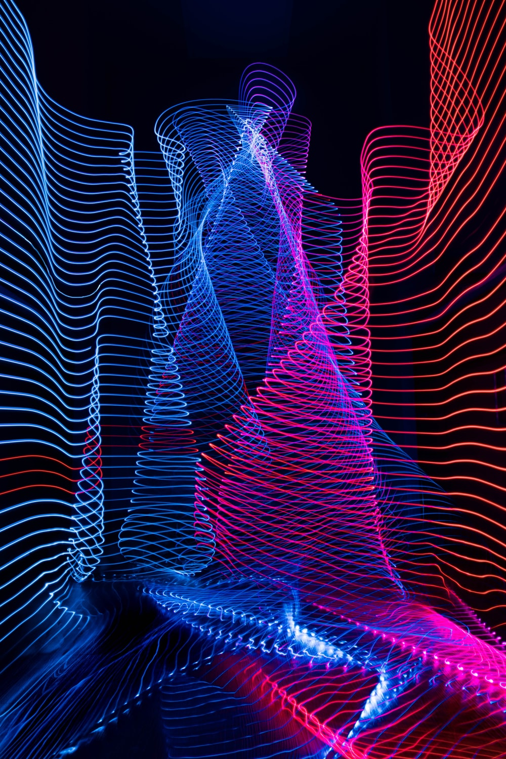 blue, red and pink abstract artwork