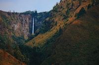 waterfalls view between hills