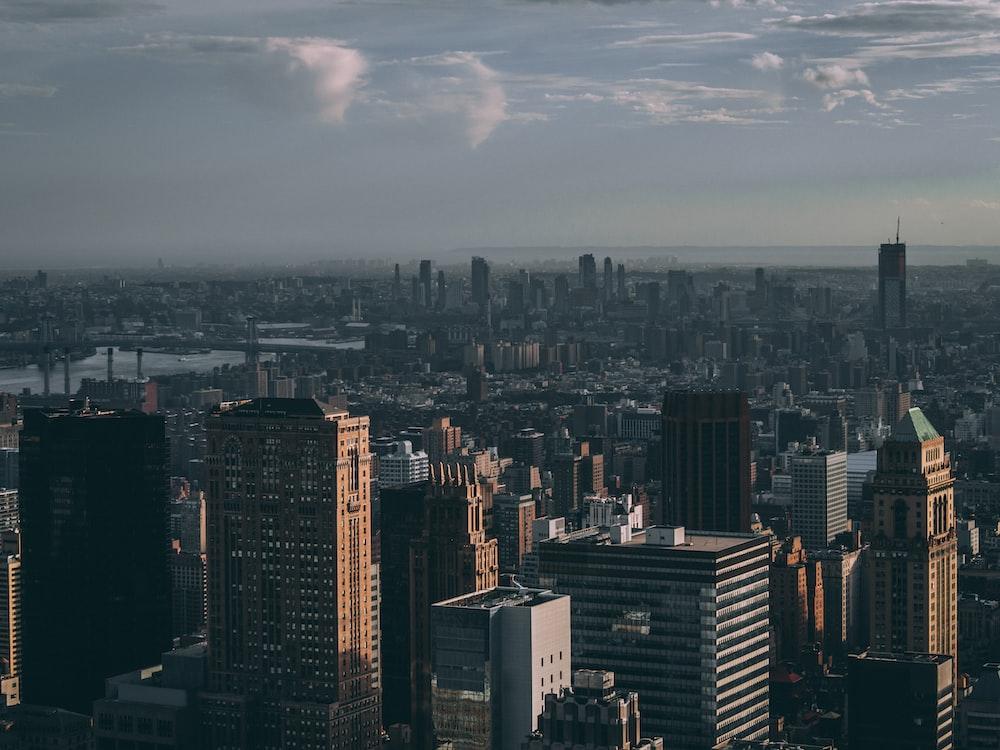 cityscape under grey sky