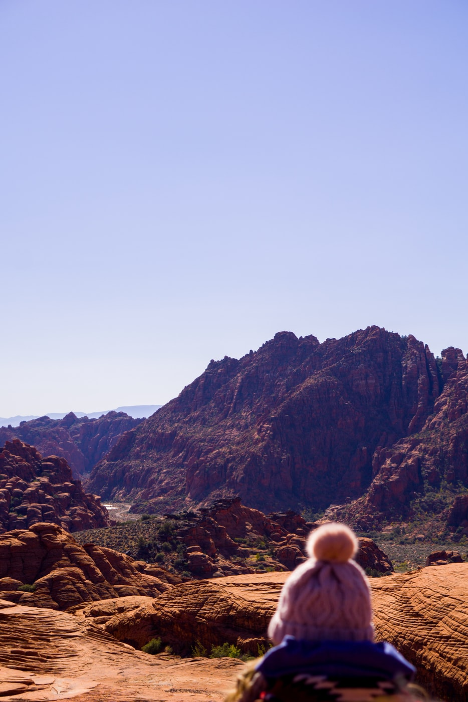 a person overlooking Snow Canyon near St. George, Utah