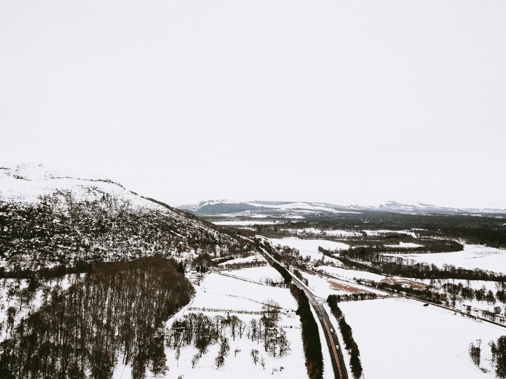 aerial photography of snow-covered area