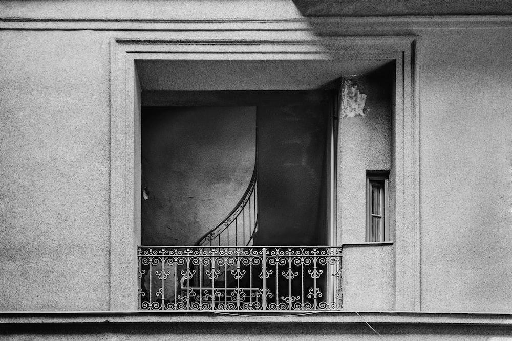 white metal railings