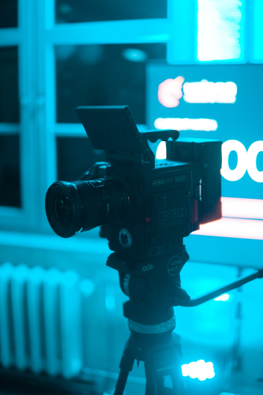 black video camera close-up photography