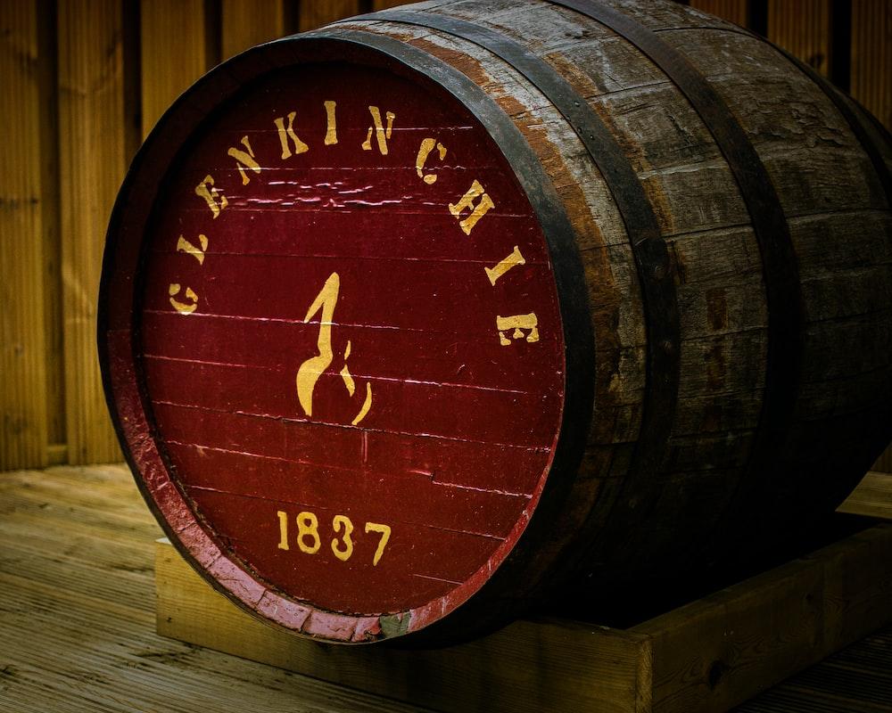 closed brown wooden barrel
