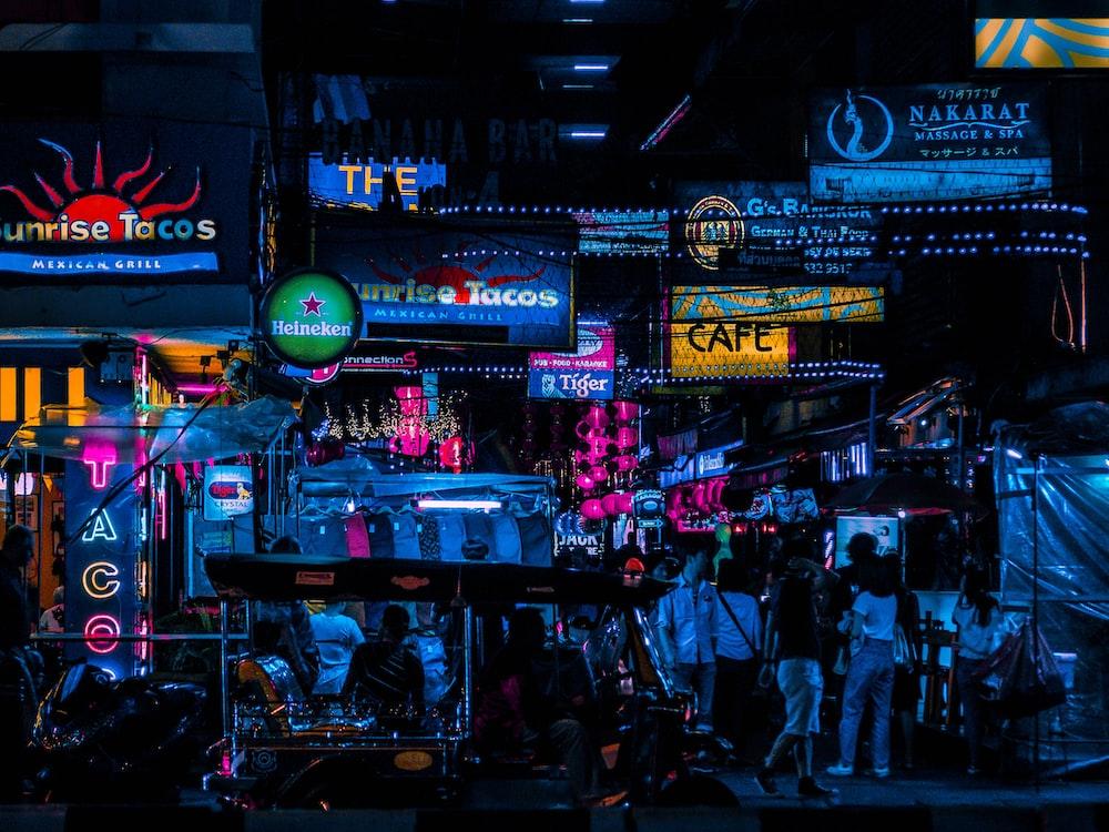 people at night market