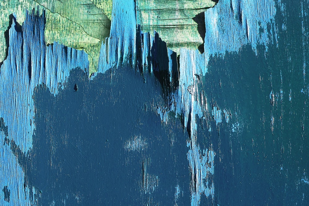 blue worn-out paint panels