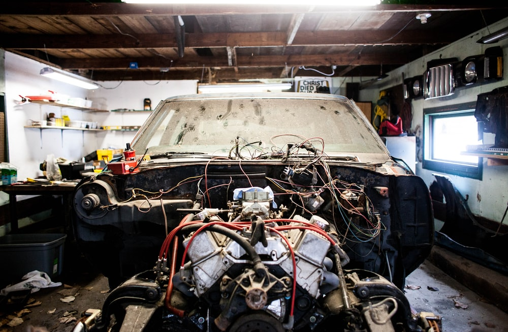 wreck vehicle in garage