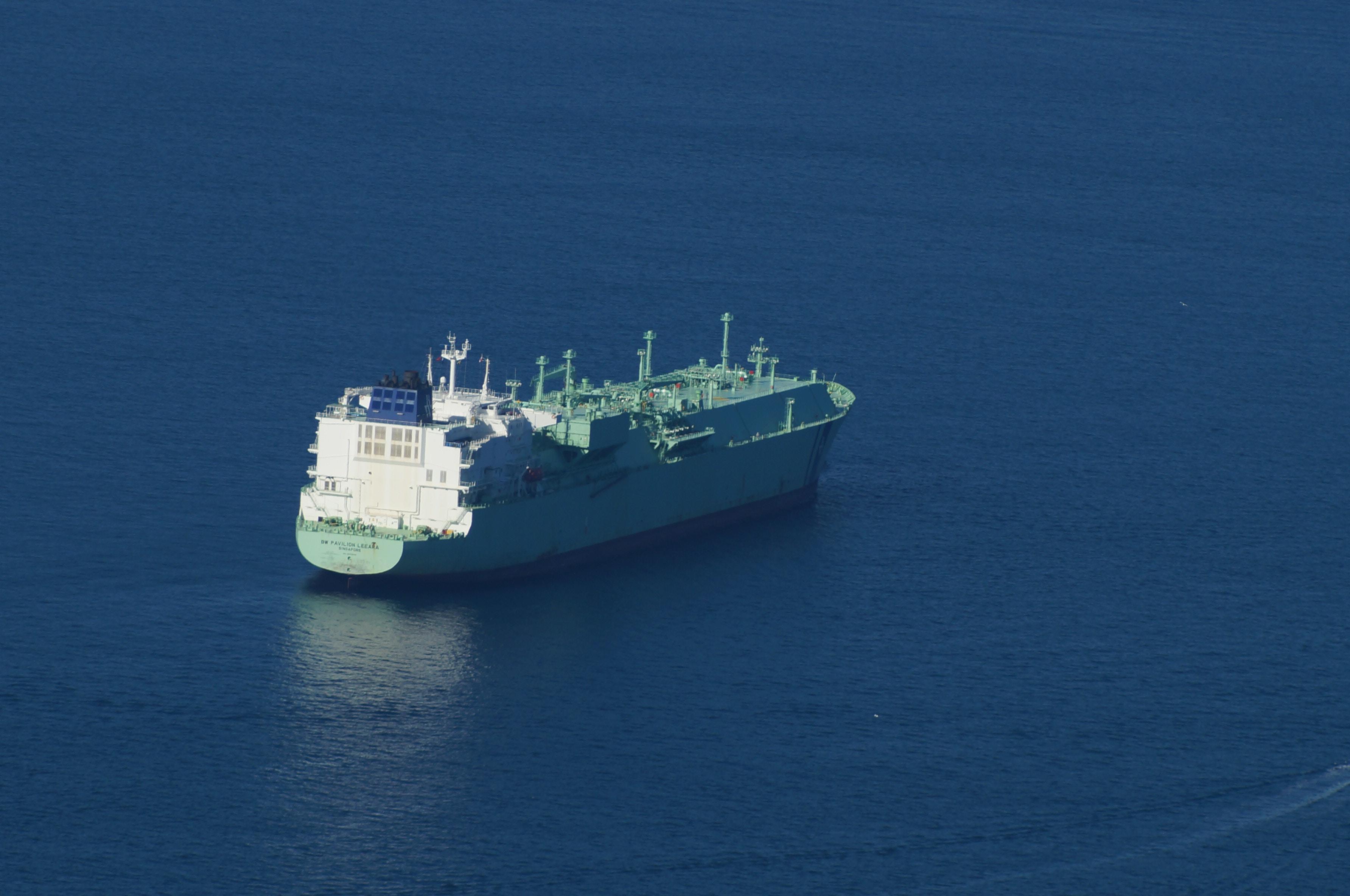 teal tanker at sea during daytime
