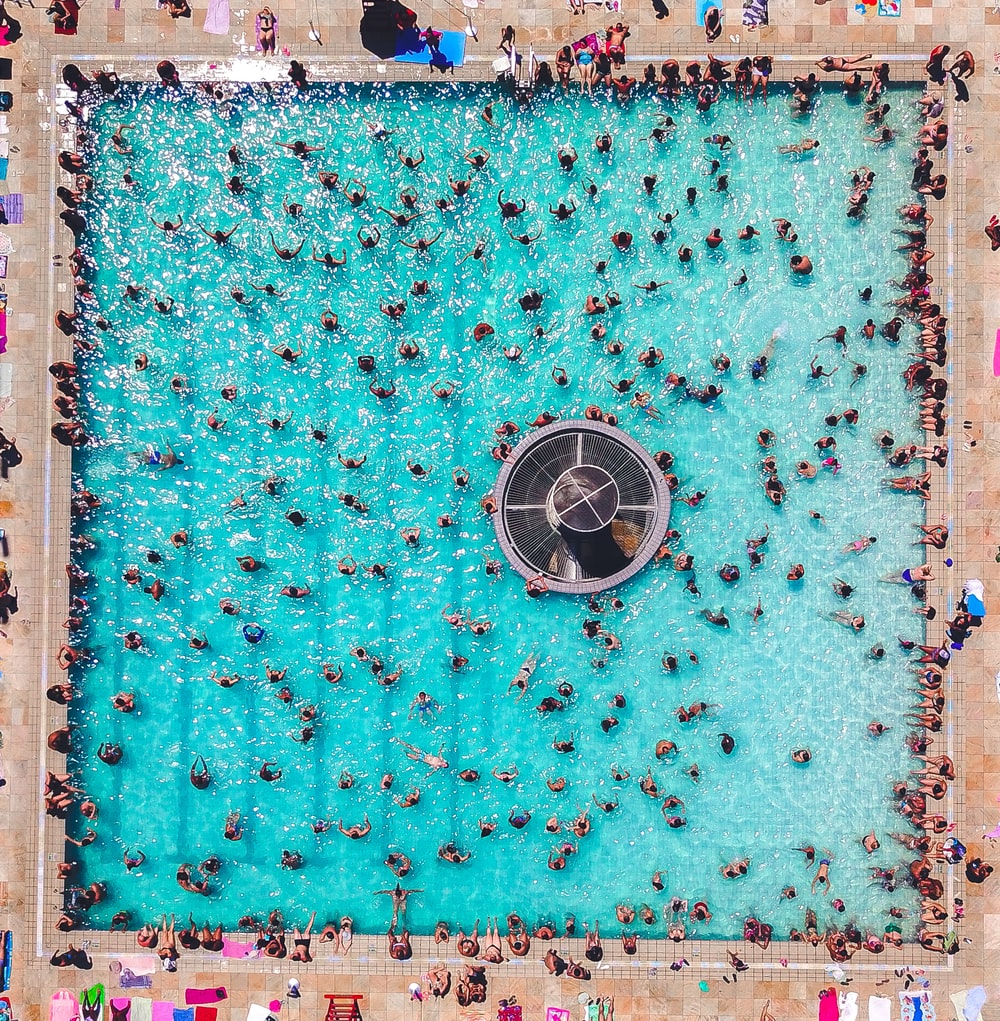 people gathering and swimming on pool