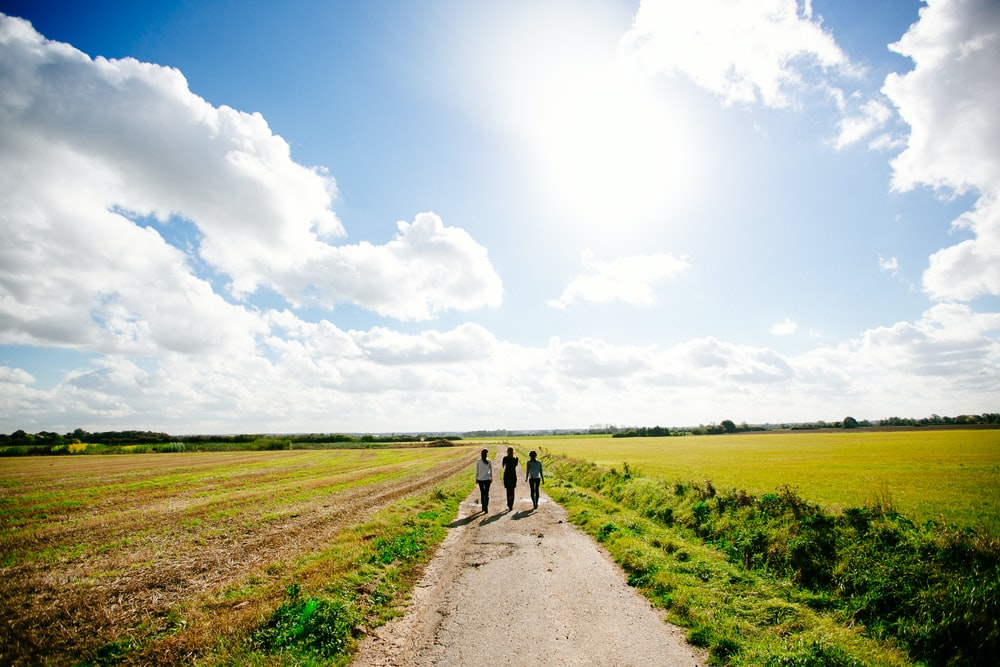 three person walking on pathway