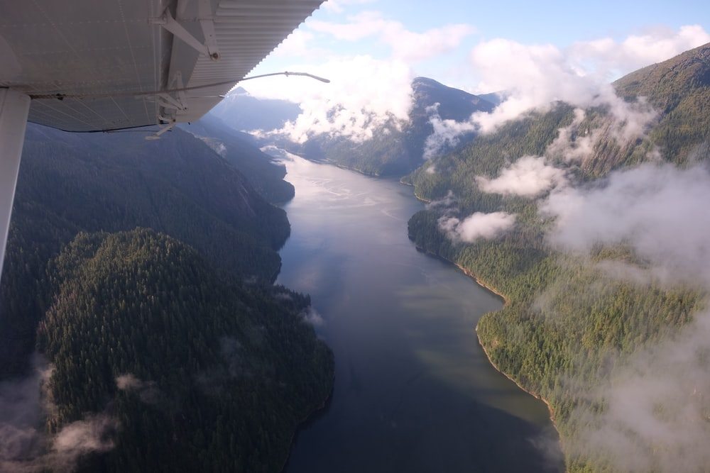 aerial view photography of lake between mountains