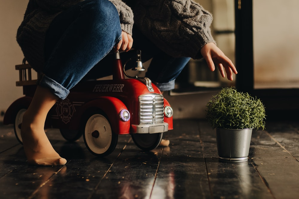 person riding ride-on toy car reaching for a plant