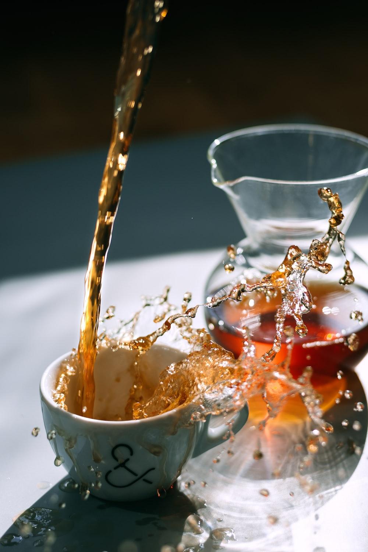 brown liquid on white mug