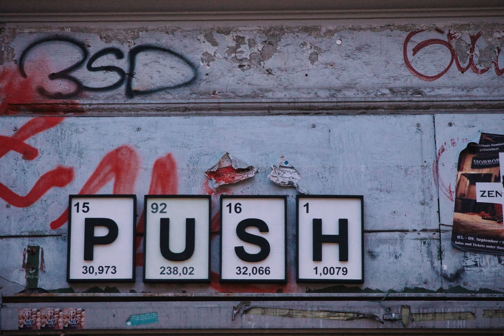 black push sign